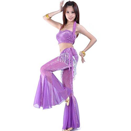 Wgwioo Frauen Blitz Silber Tuch Anzug Bauch Tanz Kleidung Kostüm Professionelle Performance Match Praxis Set , Purple , (Kostüme Bauch Size Plus Tanz)