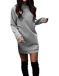 Woweal Frühling Herbst Damen Lang Pulli Kleider Oberteile Casual Langarm  Sweatshirt Tuniken Pullover Slim Sweater Kleider Blusenkleid Minikleid… 55bf6409bc