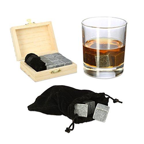 Relaxdays Whisky Steine, Speckstein, Eiswürfel wiederverwendbar, Geschenk Set, Box, HxBxT: 3,5 x 10 x 8 cm, anthrazit