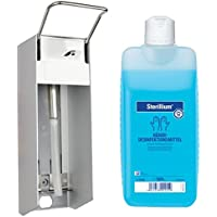1000 ml Dispensador de pared aluminio cepillado corto brazo palanca + 1000 ml sterillium Bode