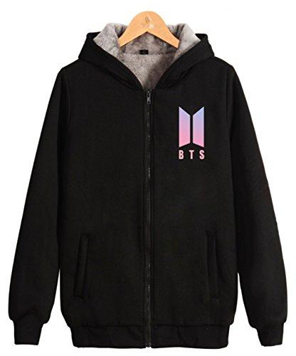 SERAPHY Unisex BTS Hoodies Warme Sweatshirts Reißverschluss mit dickem Fleece BTS Pullover Suga Jimin Jin Jung Jook J-Hope Rap-Monster Vschwarz-97 ()