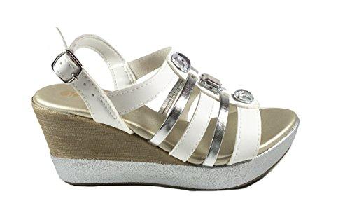 Sandales Casual Pour Femme En Cuir Compensé In Blue Vp11 White