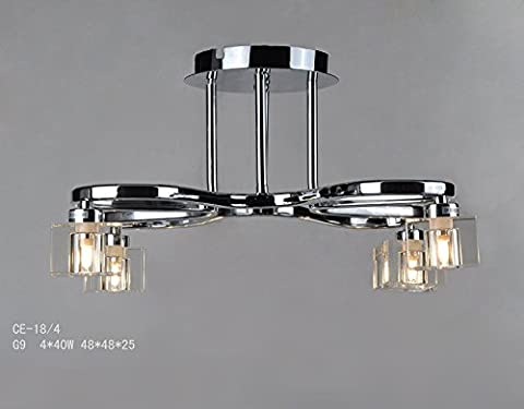 LIUYU Ceiling Lights Fitted With 4 Crystal Lights Head/Shade Chrome Polished