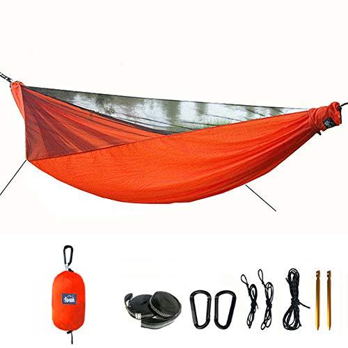 Ultraleichte Hängematte für Camping mit Zipper Moskitonetz multifunktionale Outdoor Camping Hammock für 2 Personen, 70d Nylon Atmungsaktiv, extra-Breit für Camping 290 x 145cm, 200kg (400LB)
