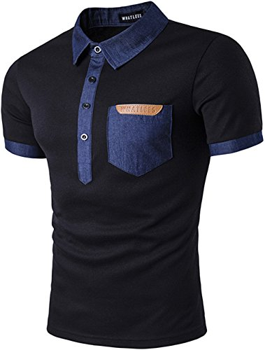 Whatlees Herren Basic Kurzarm Poloshirts Hemd Shirts in Verschieden Farben B481-Black