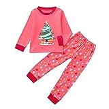 Riou Weihnachten Baby Kleidung Set Kinder Kleid Pullover Pyjama Outfits Set Familie Kleinkind Kinder Baby Jungen Mädchen Cartoon Weihnachten Nachtwäsche Tops Hosen (100, Rot)