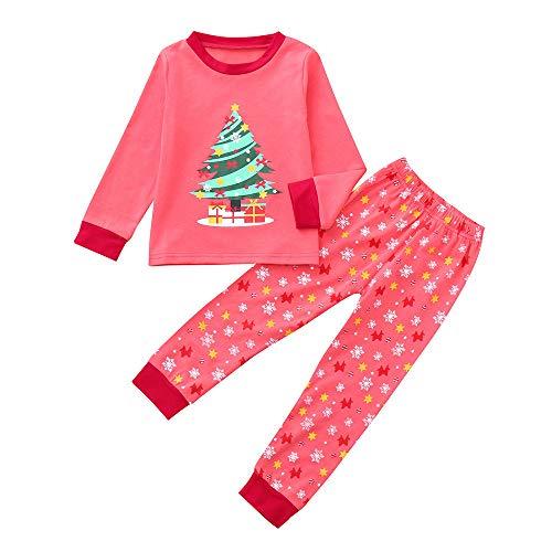 Riou Weihnachten Baby Kleidung Set Kinder Kleid Pullover Pyjama Outfits Set Familie Kleinkind Kinder Baby Jungen Mädchen Cartoon Weihnachten Nachtwäsche Tops Hosen (140, ()