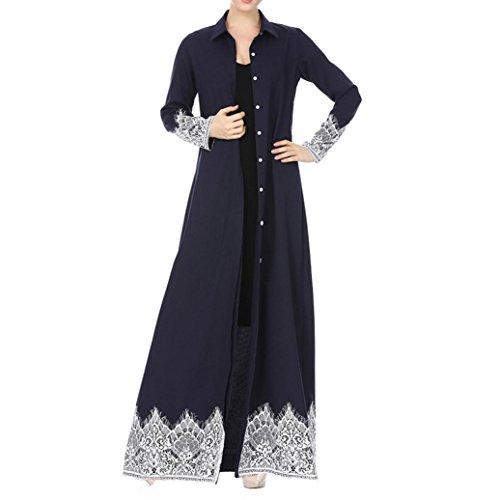 Foto de Mujer Cardigan- Diadia Musulmana Mujeres Encaje Trimmed Delantero Abaya Musulmán Maxi Kaftan Kimono para Vacaciones Nightwear Playa Día Cobertura, azul marino, Medium