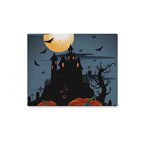 WDDHOME Wandkunst Malerei Scary Pumpkins Halloween Mond Drucke Auf Leinwand Das Bild Landschaft Bilder Öl Für Zuhause Moderne Dekoration Druck Dekor Für Wohnzimmer