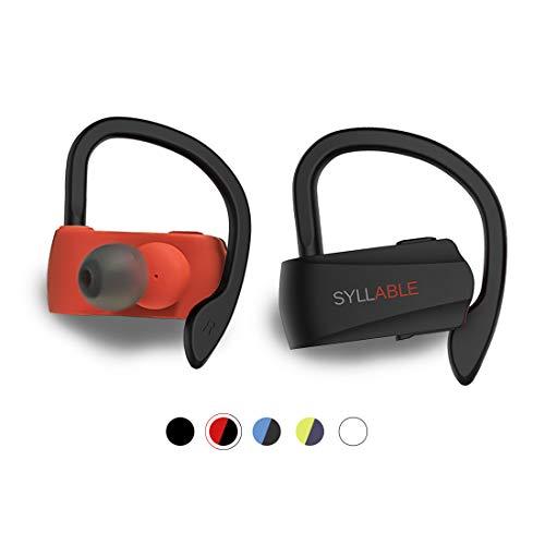 Auriculares Bluetooth Deportivos, Syllable D15 Auriculares Inalámbricos Estéreo para Deportes Bluetooth 5.0 Manos Libres con Micrófono Dual con Ganchos de Orejas para iPhone y Andriod (Negro/Rojo)