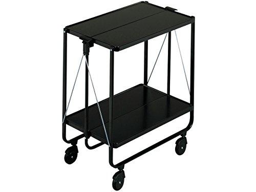 Leifheit Side-Car, Color schwarz, im platzsparenden Design, schnell auf- und abbaubarer Küchenwagen mit Rollen, klappbarer Servierwagen mit 2 Ebenen