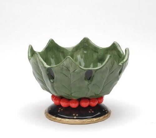 Appletree Design 40213 Holly Leaf Ceramic Candy Dish, 6-1/8 by 4-1/8 by 5-3/4-Inch by Appletree Design Holly Candy Dish