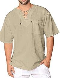 bc32990b1 JINIDU Mens Fashion T Shirt Cotton Tee Hippie Shirts Short Sleeve Beach  Yoga Top
