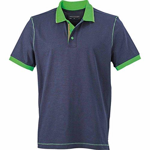 JAMES & NICHOLSON Herren Poloshirt, Einfarbig bleu marine et vert fougère