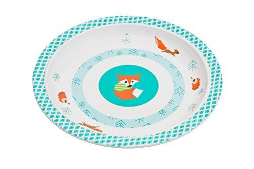 LÄSSIG Teller Kinder Baby Kleinkind rutschfest spülmaschinengeeignet Melamin/Plate Little Tree Fox