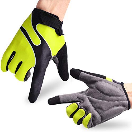 Molee Fahrradhandschuhe Radsporthandschuhe Rutschfeste und stoßdämpfende Mountainbike Handschuhe mit Signalfarbe geeiget Unisex Herren Damen -