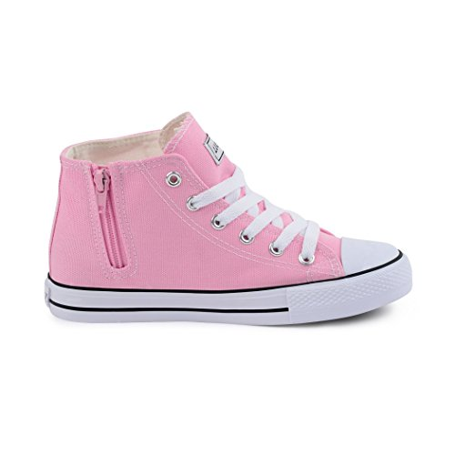 Zíper Senhoras botas Slipper Schnürer Halbschuhe Sapatos Sneaker Reißverschluss High Damen Kids Best Tênis Rosa Rosa boots Semi Alto Lace Sportlich Crianças top chinelo M atléticas M Best top fw6xOp