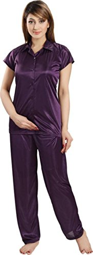 Fabme Women's Satin Night Suit Nighty ( Shirt and Pyjama ) - Color Purple