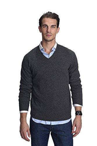 STATE CASHMERE langärmliger Pullover aus 100 % reinem Kaschmir mit V-Ausschnitt für Herren