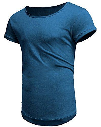 Herren Kurzarm T-Shirt Sommer Casual Oversize Slim Fit Tops Basic Rundhals Baumwolle Shirt Crew Neck Sport Shirt (m, Blau)