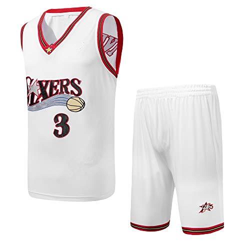 DEBND Sommer Stickerei Basketball T-Shirt Nab 76ers #3 Allen Iverson, Herren Basketball Uniform Klassisches Top & Shorts