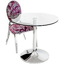 Cristal transparente mesa de comedor–redondo 80cm de diámetro–Base cromada