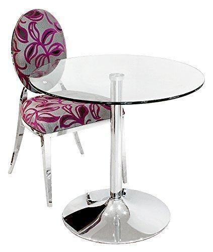 The Look Table à Manger en Verre Transparent – Rond Diamètre 80 cm – Base chromée