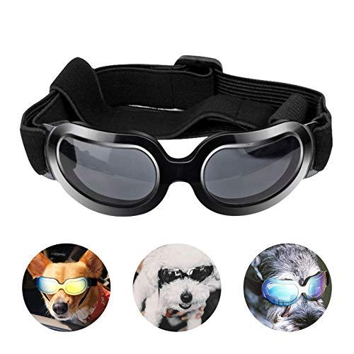 PEDOMUS Hunde Sonnenbrille Verstellbarer Riemen UV-Sonnenbrillen Wasserdicht Winddicht Schutz für kleine Hunde Schwarz