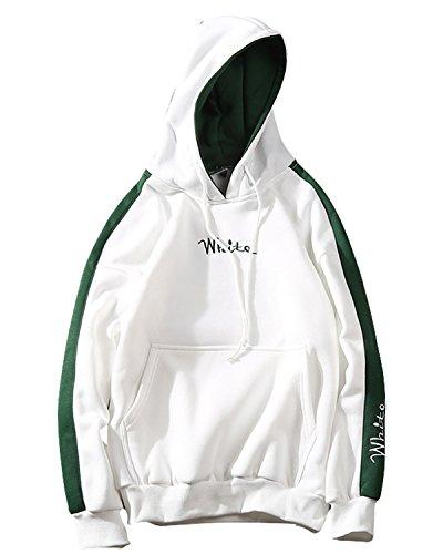 JOLIME Herren Mode Kapuzenpullover Hoodie Sweatshirt Fleece Contrast Stickerei Pullover Weiß EU L=Etikett 2XL (Breiter Jumper Bund)