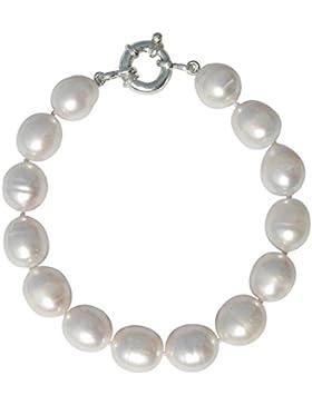 Pearl Paradise - Atemberaubende Süßwasser-Zuchtperle, groß 10-11mm weiß ovale Form barock, Perlen-Armband mit...