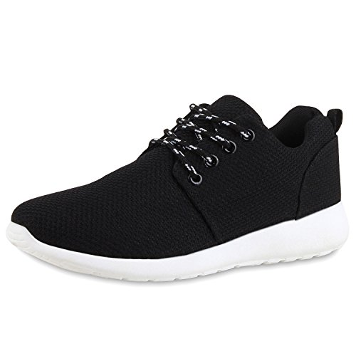 Flache Unisex Damen Herren Laufschuhe Profilsohle Sportschuhe Schnüren Sneakers Freizeitschuhe All Black White