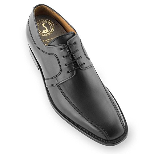 Scarpe con rialzo da uomo che aumentano l'altezza fino a 7 cm. fabbricate in pelle. modello novara nero 42