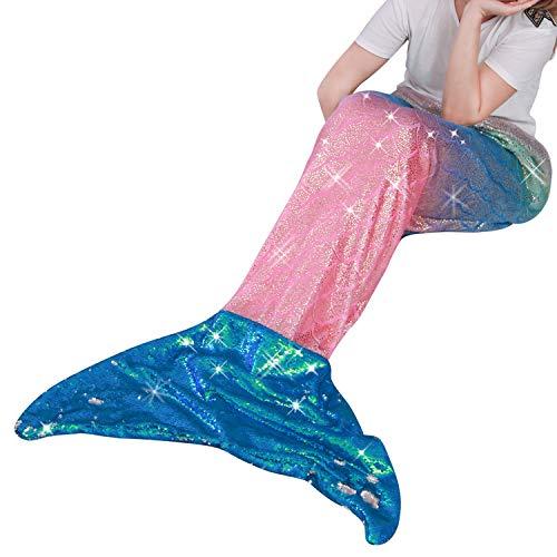 Coperta a coda di sirena per bambini adulto,flanella morbida sacco a pelo per tutte le stagioni,i migliori regali per ragazze,donne,63x152cm