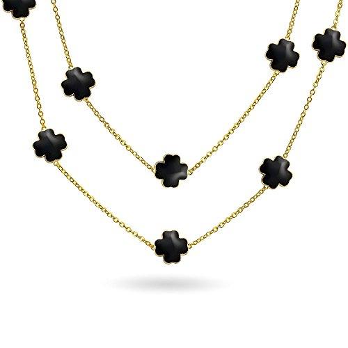 Schwarz Clover Blume Lange vergoldet Messing Station Tin Cup Kette Wrap Layer Halskette für Frauen 42 Zoll