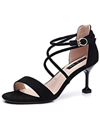 f665964c6997 Huaishu Damen Sandalen Damen Sandalen mit hohen Absätzen Offene Zehe Schuhe  Wildleder Weinglas Schuhe Kreuz mit