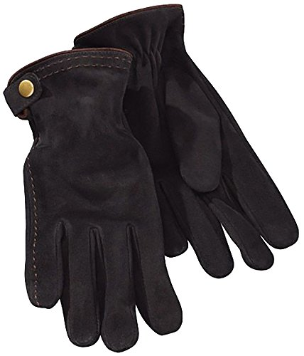 ESMARA® Damen Leder-Handschuh mit Schnalle und braunen Nähten, Veloursleder (Gr. 7 - (Braune Handschuhe)