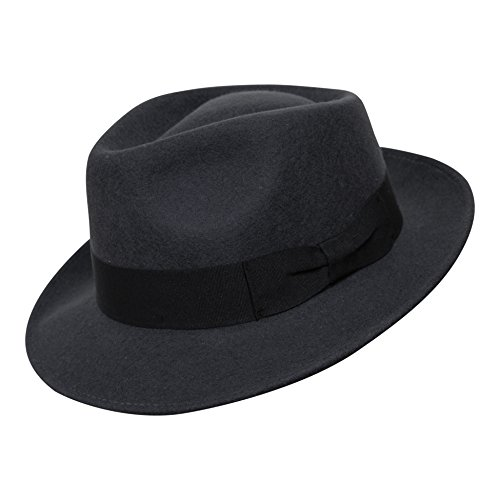 B&S Premium Doyle - Teardrop Fedora Hut - 100 % Wollfilz - perfekt zum Reisen - was-serabweisend - Unisex - 58cm Dunkelgrau