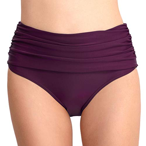 security Damen Bikini-Hose, gerafft, volle Abdeckung, Badehose Gr. M, 1 (Nautica Kurze Jungen)