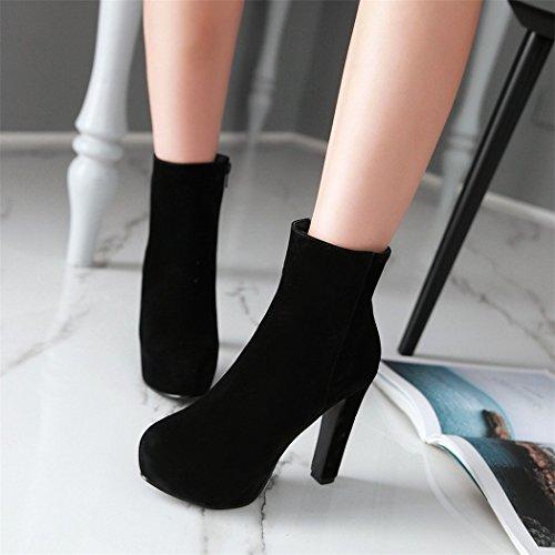 ZQ@QX In autunno e in inverno, testa rotonda bold e elegante zip laterali grandi cantieri, Stivali Stivali femmina black