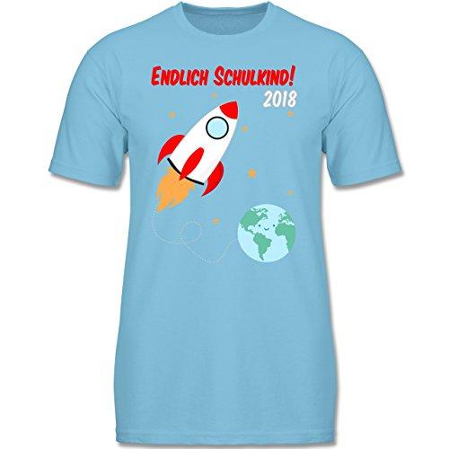 ng - Endlich Schulkind Rakete 2018-128 (7-8 Jahre) - Hellblau - F140K - Jungen T-Shirt (Weltraum-outfits)