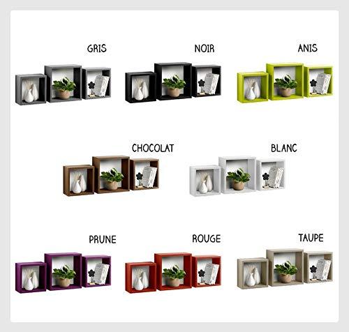 Set de 3 Cubes gigognes - Différents Coloris - Rouge