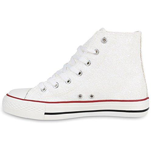 Damen Schuhe Sneaker Turnschuh High Top Weiss Weiss