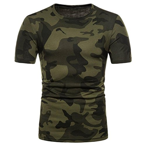 Sport Shirt Herren Kanpola Sommer Basic Sweatshirt Slim Fit Kurzarm Tee Fitness Bluse (M-Camo, L/50)