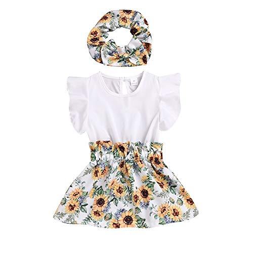 Miyanuby Baby Mädchen Kleider Kinder Kleinkind Blumen Muster Rüschen Ärmel Kleid Freizeit Kleidung Mit Stirnband für 0-24 Monate - Kleinkind-linie Kleid Muster