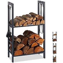 Relaxdays 10026017_944 Étagère à Bois de cheminée, Acier, Anthracite, 100 x 60 x 30 cm
