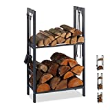 Relaxdays Kaminholzregal mit 2 Ablagen, aus Stahl, 4 Haken für Kaminbesteck, Brennholzregal HBT 100x60x30 cm, anthrazit, 100 x 60 x 30 cm
