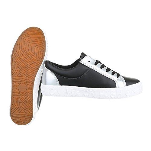 Sneakers Low Damenschuhe Sneakers Low Sneakers Schnürsenkel Ital-Design Freizeitschuhe Schwarz Silber KK-25