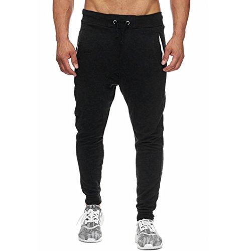 Pantalones Hombre,❤LMMVP❤Hombres elástico puños casuales cordón entrenamiento jogging pantalones deportivos chándal (L, Negro)