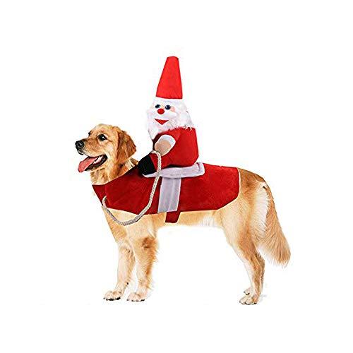 Smartrich Costume per Cani di Babbo Natale Vestiti per Animali Domestici di Natale, Cavalcando Costume per Feste di Natale Vestiti per Vestire Natale Halloween per Cani di Taglia Piccola o Grande