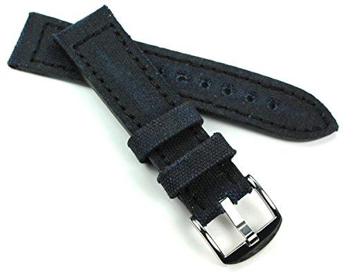 RIOS 1931 22mm Canvas mit Leder Uhrenarmband Sport Taucher schwarz